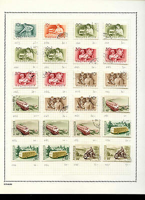 Hungary 1951-1952 Album Page Of Stamps #V3600