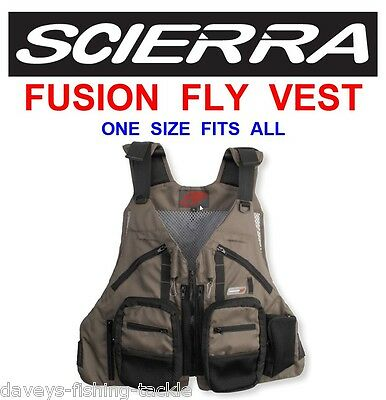 Scierra Fusion Fly Vest Use With Waders Wading Jacket Trout Fishing Salmon Rods