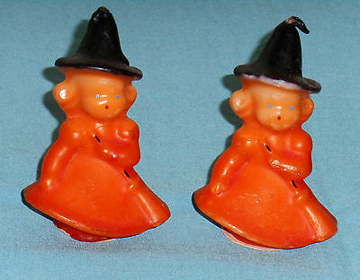 vintage Halloween GURLEY CANDLE LOT OF 2 witch in orange dress