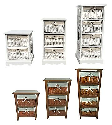 White Or Pine 2, 3 or 4 Chest of Drawers Bedside Table Storage Unit Cabinet