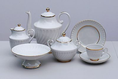 Coffee set 6/22 pcs SNOW WHITE, 22K-gold, Lomonosov / Imperial Porcelain, Russia