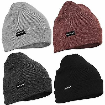Urban Classics Leather Patch Long Beanie Winter Hat Cap Woolly Hat Ski Basic