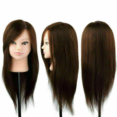 """22""""100% Real Hair Training Head Mannequin Hairdressing Makeup Head + Clamp"""
