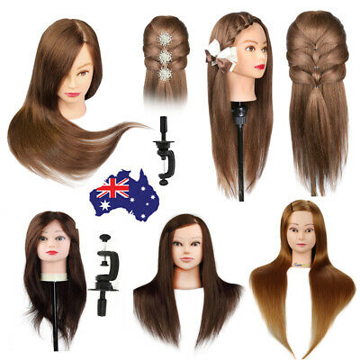 100% 24'' 26'' Real Human Hair Hairdressing Training Head Mannequin Doll+Clamp