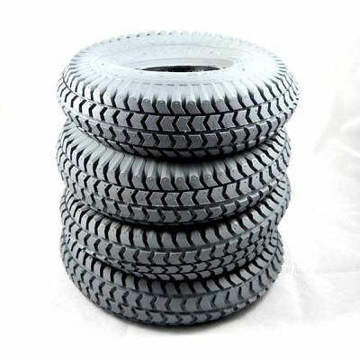 1 Set of 4 Tyres 260x85 3.00-4 Grey Mobility Scooter Tyre 300x4 (4 Block Tread)