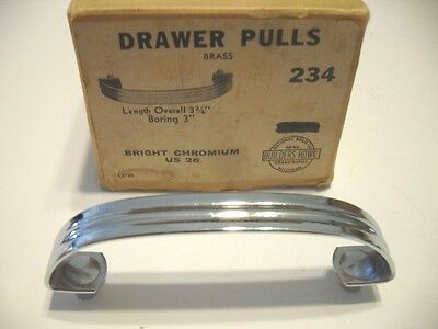Vtg NOS Chrome Plated Brass Drawer Pulls Cabinet Door Handles w Lines / Grooves