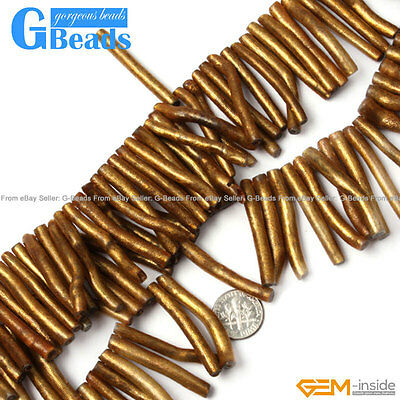 Black/Gold Branch Coral Gemstone Stick Beads For Jewelry Making Free Shipping