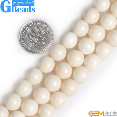 """Natural A Grade Cream White Coral Gemstone Round Beads 15"""" 4mm 5mm 6mm 7mm 8mm"""