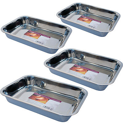 Baking Tray Stainless Steel Deep Roasting Oven Pan Grill Bake Cook Dish New