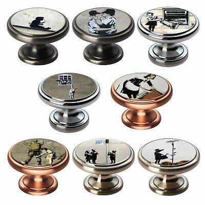 Polished Chrome Knobs Banksy 38mm Cupboard Drawer Door Handles Decorated