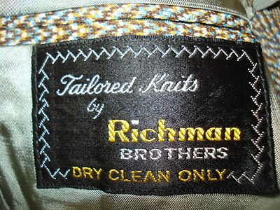 "Handsome vtg herringbone 2 button suit 38 S 37""x27"" by RICHMAN BROTHERS superb!"