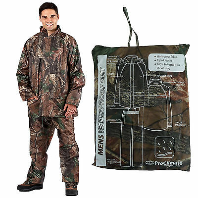 ProClimate Mens Camouflage Waterproof Rain Suit Hooded Hunting Jacket & Trousers