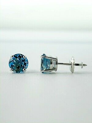 1 Ct Round Blue Earrings Studs Solid 14K White Gold Brilliant Screw Back Basket