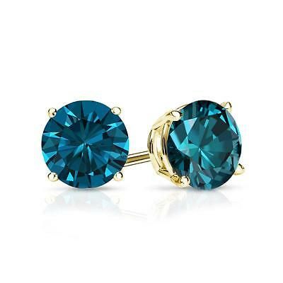 2 Ct Round Blue Earrings Studs Solid 14K Yellow Gold Brilliant Screw Back Basket