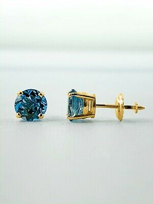 1 Ct Round Blue Earrings Studs Solid 14K Yellow Gold Brilliant Screw Back Basket