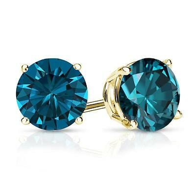 3 Ct Round Blue Earrings Studs Solid 14K Yellow Gold Brilliant Screw Back Basket