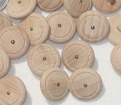 Lot 16 Wooden Wood self shank set buttons Incised with METAL spot center 3/4""