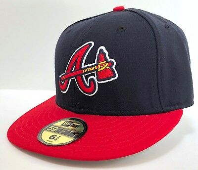 premium selection aea9c f6972 NEW ERA 59FIFTY FITTED MLB ATLANTA BRAVES Hammer Navy Red-Yellow