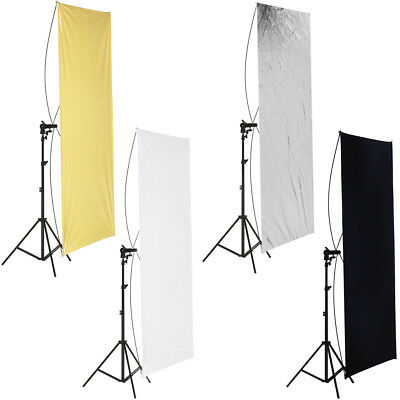 "35x70""/ 90x180cm Photo Studio Gold/Silver & Black/White Flat Panel Reflector"