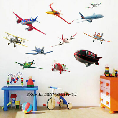 11 Pcs Disney Planes Removable Wall Art Stickers Kids Decal Nursery Decor Mural