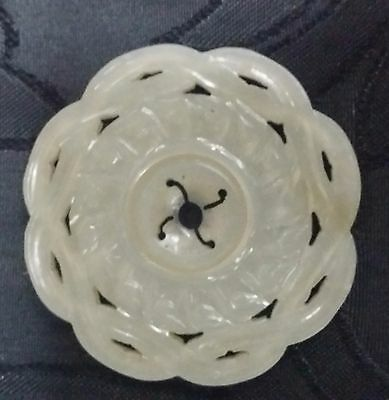 Antique Carved Light Celadon Jade Round Pendant Double sides Rotating Inner.