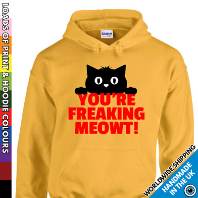 Kids Funny Cat Hoodie - Freaking Me Out Meow - Childrens Kitten Hooded Top