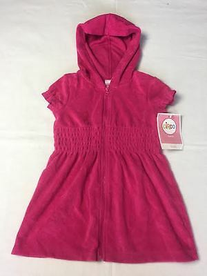 CIRCO Solid PINK Terry Cloth SWIM COVER UP w/ Hood & Zipper Girls Infant Toddler