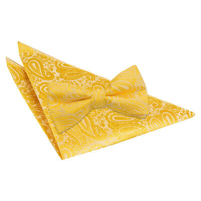 DQT Woven Floral Paisley Gold Mens Pre-Tied Bow Tie & Hanky Wedding Set
