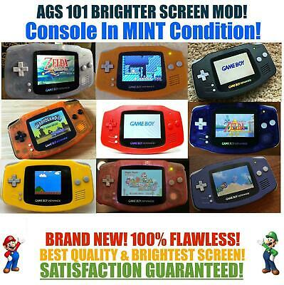 Nintendo Game Boy Advance GBA AGS 101 Brighter Mod Backlit MINT Pick a Color!