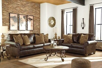 Superb Traditional Brown Bonded Leather Sofa Loveseat Living Room Unemploymentrelief Wooden Chair Designs For Living Room Unemploymentrelieforg