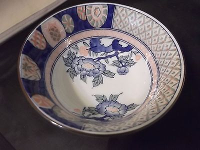 VINTAGE JAPANESE BLUE & WHITE PORCELAIN RICE BOWL MID-CENTURY Signed