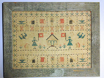 """Vtg Antique Framed Cross Stitch Women's Suffrage Theme Approximately 16"""" x 20"""""""