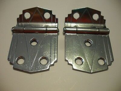 "Vtg NOS CHROME Steel Cabinet Hinges 3/8"" Offset Mounted Doors Builders Hardware"
