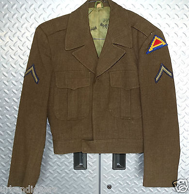 11710/ Original WWII US ARMY Wool IKE JACKET / COAT ~ 7th Army Patch ~ size 36