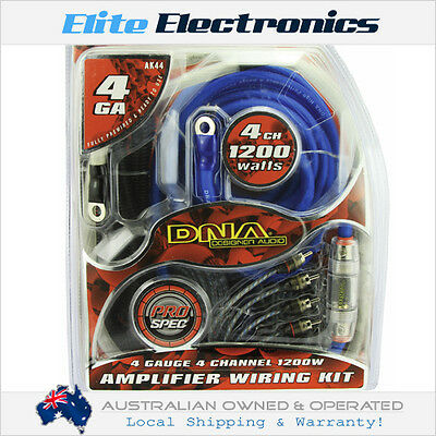 Dna Ak44 4-Awg Gauge 4 Channel 1200W Amplifier Wiring Installation Kit Amp Car