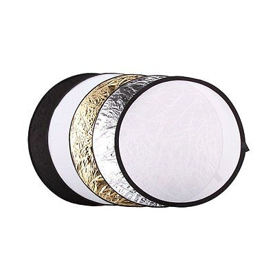 """New 5 in 1 Collapsible 110cm 43"""" Lighting Diffuser Round Reflector Disc + Bag"""