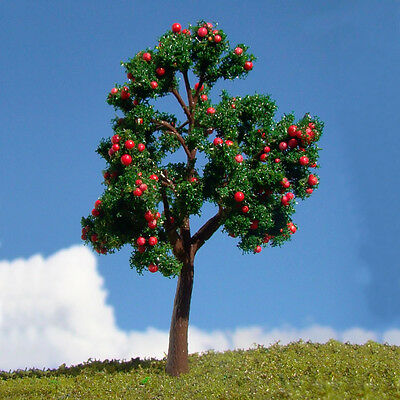 20pcs OO O Scale Pagoda Red  Fruit Model Trees Layout Scene For Railroad 11CM