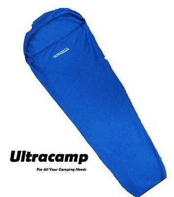 Ultracamp Fleece Mummy Sleeping Bag Liner with Carry Stuff Sack Summer Winter