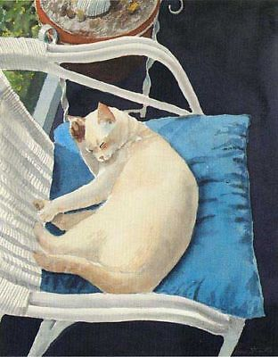"""""""after Breakfast"""" - White Cat Fr. A/p Art Print By Drew Strouble Catmandrew"""