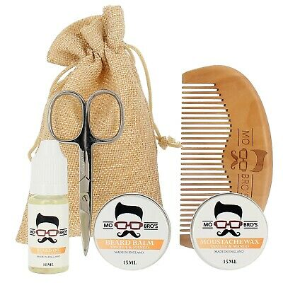 Beard Grooming Kit | Oil, Balm, Moustache Wax, Comb & Scissors | Vanilla & Mango