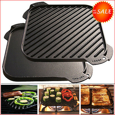 New Single-Burner Reversible Cast Iron Grill Griddle Plate Stove Top Pan Skillet