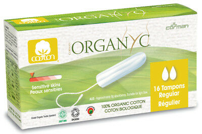 Organyc Tampon Regular 16pcs 100% Organic Cotton FREE P&P