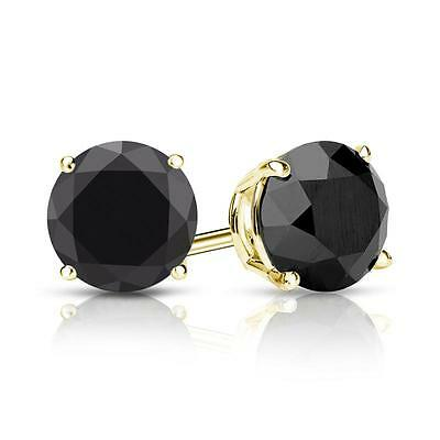 3 Ct Round Black Earrings Studs Solid 14K Yellow Gold Screw Back Basket