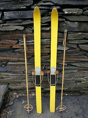 """VINTAGE  Wooden 46"""" Skis Has YELLOW Wood Finish with Bindings + OLD BAMBOO Poles"""