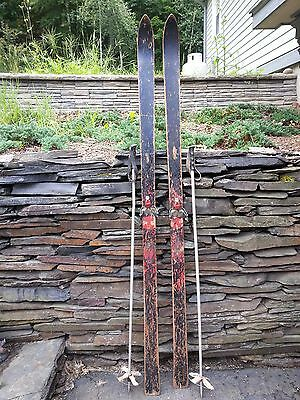 """VINTAGE Wooden 77"""" Skis Has BLACK and RED Finish  + Metal Poles"""