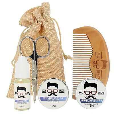 Mo Bro's Spiced Grooming Kit- Moustache Wax, Beard Balm, Oil, Comb, Gift Bag