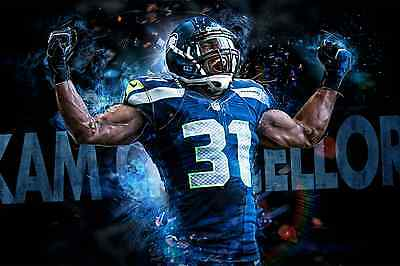 """Seattle Seahawks Kam Chancellor 24""""x36"""" High Glossy Photo Poster"""
