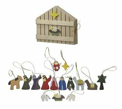 Heaven Sends Wooden Set Of 12 Boxed Novelty Nativity Christmas Tree Decorations