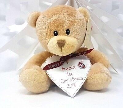 Personalised Baby's first 1st Christmas Day decoration Teddy Plaque Xmas Kids