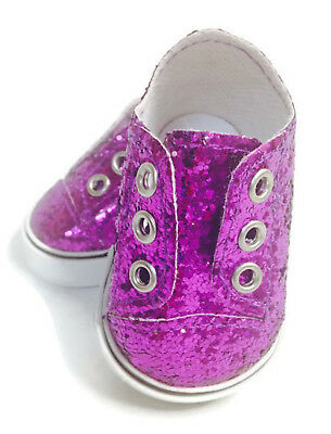 Purple Glitter Slip On Sneakers Shoes for 18 inch American Girl Doll Clothes